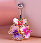 buy belly bars 99p - Three Butterfly Drop Body Piercing Belly Button Ring Dangly Reverse Navel Bars