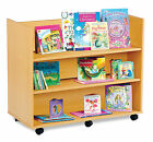 Double Sided Wooden Mobile Book Trolley / Library Unit