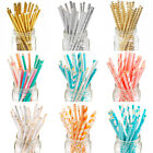 25Pcs Paper Drink Gold Striped Straws Biodegradable Baby Shower Birthday Party
