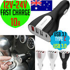 12V-24V✔2.4a-10a USB 3.0 & 3.1 Type-C FAST CHARGE✔4 Port Car Charger Adapter NEW