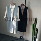 Women Long Length Suit Vest  Collarless Sleeveless OL One Button Clothes V-neck