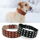 Genuine Leather Rivets Studded Dog Collars for Rottweiler Labrador XS M L Black
