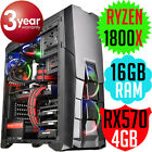 Thermaltake Versa N25 AMD RYZEN 7 1800X 16GB RX570 Gaming TOWER Computer PC NEW
