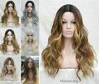 8 Colors Long Wavy Centre Parting Ombre Lace Front Women Full wig Heat Resistant
