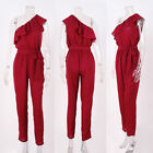 Ruffled Rompers Jumpsuit Chiffon One Shoulder New Long Trousers Women's