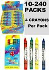 10 to 240 Packs 4 Mini Colouring Wax Crayons Party Bag Fillers Toys Wedding