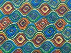 Orange Blue Hourglass Stripes Cotton Quilting Fabric Crafts Sewing
