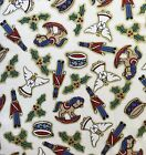 """Christmas Rocking Horse Drums Holly Angels Cotton Quilt Fabric Remnant 39"""" Wide"""