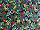 Christmas Ornaments & Holly Gold Detail Cotton Quilt Fabric Sewing Crafts