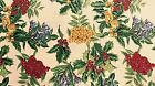 Christmas Holly & Berries Gold Detail on Tan Cotton Quilt Fabric Craft