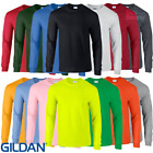 Gildan MEN'S LONG SLEEVE T-SHIRT TOP CUFFS 100% COTTON 21 COLOURS NEON FREE P&P