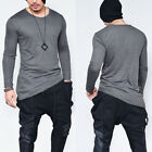 New Fashion Men Slim Fit V Neck Long Sleeve Muscle Tee T-shirt Casual Tops Blous