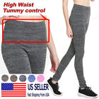 Women Space Dye Fleece Thick Warm Leggings High Waist Tummy Control Wide Band