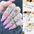 10 Pcs/set Fashion Women's Silver Stone Above Knuckle Finger Band Midi Ring