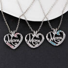 Chic Crystal Rhinestone Love Heart Pendant Chain Jewelry Necklace for Mom Mother