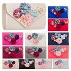 NEW WOMENS SATIN LARGE FLOWER DETAIL CHAIN STRAP PARTY CLUTCH BAG HANDBAG