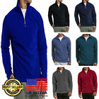 Mens Quarter 1/4 Zipper Hiking Camping Golf Long Sleeve Polar Fleece Sweater