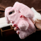 For iPhone 5 6 7 8 Plus Fashion Bunny Warm Fluffy Rabbit Fur TPU Soft Case Cover