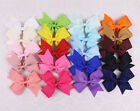"""New  50/100/200pc 4"""" Baby Girl Grosgrain Ribbon solid hairbow with clips 2788-P"""