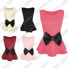 New Ladies Big Bow Sleeveless Plain Diamond Quilted Stretch Skater Peplum Top