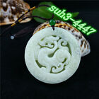 Wholesale Chinese Natural White Jade Dragon Pendant Necklace Charm Jewelry Hot