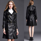 Women Mid Long  Faux Leather Coat Double Breasted Parka Trench Jacket Overcoat