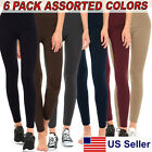 Womens Fleece Lined Leggings Winter Thick Warm 6-PACK Variety Assorted Colors