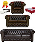 Chesterfield Sofa 3 + 2er Sitzer + Sessel + Hocker + Bett Dunkelbraun Leder Look