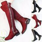 New Womens Ladies Low Flat Heel Knee High Boots Thigh Stretch Zipped Shoes Size
