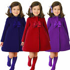 Внешний вид - Kids Girls Long Coats Winter Warm Outwear Wind Jacket Trench Bowknot Swing Dress