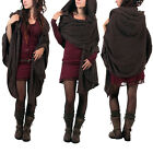 Womens Pullover Hood Knitted Scarf Patchwork Poncho Wrap Shawl Cloak Poncho Cape