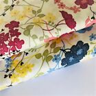 Summer Pink Blue Yellow Pure Cotton Floral Fabric Fat Quarter Half Metre