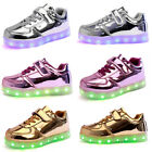 Boys Girls USB LED Light up Lace Up Luminous Sneakers Kids Casual Shoes 7 Colors