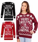 Ladies Xmas Christmas Filthy Animal Sweater Top Women Long Sleeve Novelty Jumper