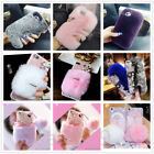 For Apple iPhone X/8 Plus Warm Soft Furry Rabbit Fur 3D Bling Crystal Case Cover