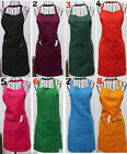 New Women Solid Cooking Kitchen Restaurant Bib Apron Dress with Pocket Gift QW