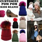 GIRLS KIDS NEW DETACHABLE COLOURED FAUX FUR POM POM WINTER BOBBLE HAT 4-13 YEARS