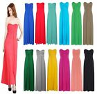 Ladies Strapless Bow Knot Tie Bandeau Boobtube Womens Long Jersey Maxi Dress