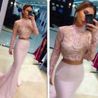 YuNuo Two-Piece Lace High-Neck Mermaid Long-Sleeve Prom Evening Cocktail Dresses