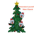MAXORA Personalized Penguin Family of 3 4 5 6 Green Christmas Tree Ornament