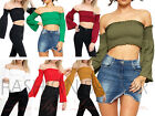 New Shirred Off Shoulder Bardot Crop Top Wide Flared Long Sleeve Gypsy Top Cheap