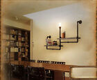 Loft Water Pipe Shelf Wall Light Bookshelf Lamp Room Vintage Industry Iron New