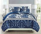 Fancy Linen Over Sized Quilt Bedspread Floral Navy Blue White All Sizes New image