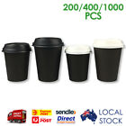 Take Away Black Single Wall Coffee Cups with Black and White Sippa Lids