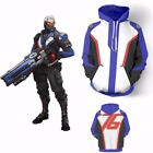 Overwatch OW SOLDIER:76 Hoodies Cosplay Jacket Coats Halloween Party Costume USA