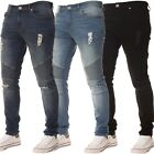 New KRUZE Mens Super Stretch Skinny Jeans Distressed Ripped Denim Biker Pants