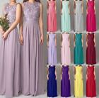 Long Chiffon Lace Evening Formal Evening Party Prom Bridesmaid Dresses Size 6-22