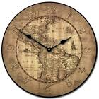 16th Century Parch Map LARGE WALL CLOCK 10- 48 Quiet Non-Ticking WOOD HANDMADE