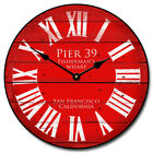 "Pier 39 Red LARGE WALL CLOCK 10""- 48"" Whisper Quiet Non-Ticking WOOD HANDMADE"