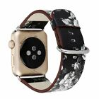 Vintage Floral Design PU Leather Watch Band Strap For Apple Watch iWatch 38 42mm